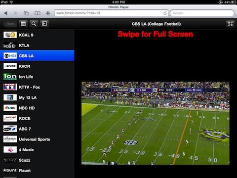 FilmOn iPad TV