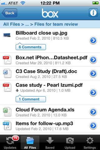 Box.net iPad app