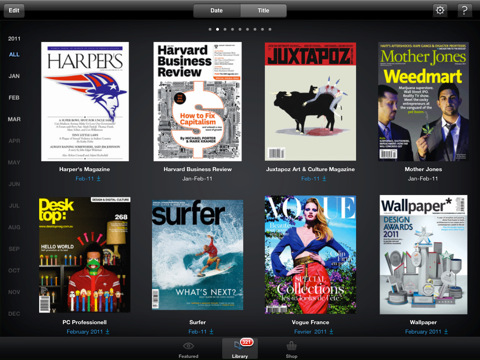 Zinio app on the iPad