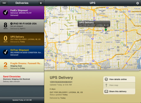 Delivery Status touch, a package tracker - on the iPad