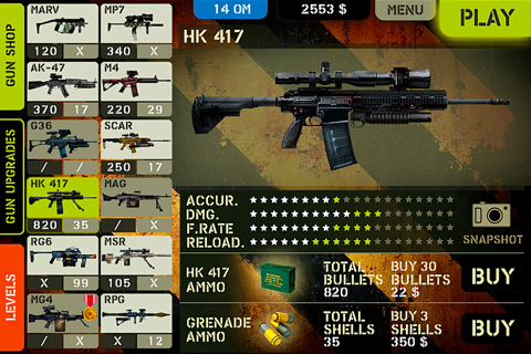 Overkill gun selection on the iPhone