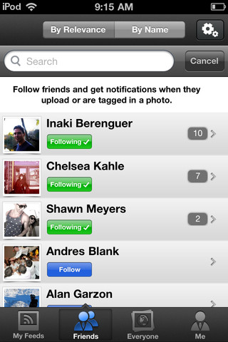Pixable for iPhone - following users