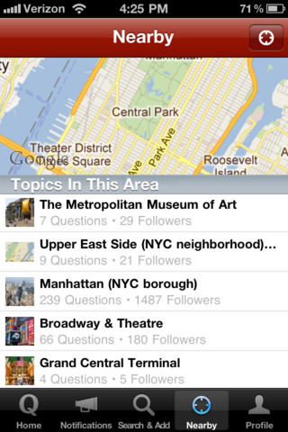 Quora iPhone app local topics