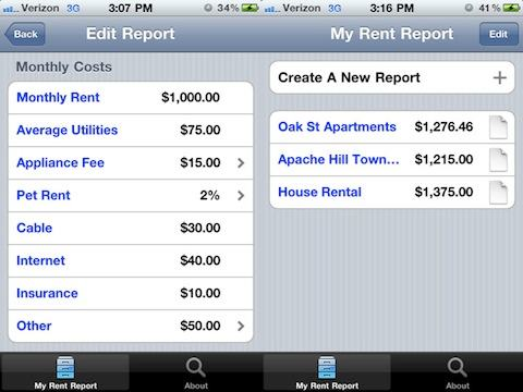 My Rent Report iPhone app review