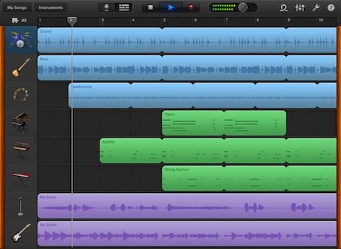 GarageBand for iPad recording