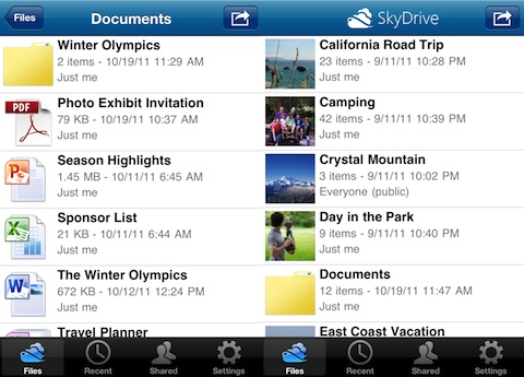 SkyDrive iPhone app review